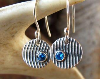 Blue Stone Earrings, Small Silver Dangle Earrings, Fine Silver Jewelry, Textured Earrings, Oxidized Silver, Minimalist Everyday Earrings, CZ