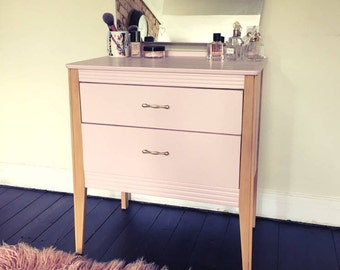 Upcycled Pink dressing table with drawers and mirror