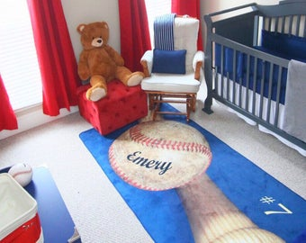Baseball Decor Area Rug Personalized Custom Matt