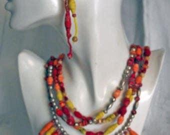 74 Bead Fiesta Necklace, textile jewerly, eco friendly, silver, southwest, OOAK, wearable art.