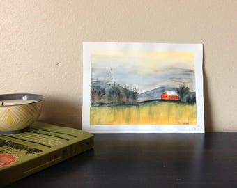 Little Red Barn - Original Watercolor Painting