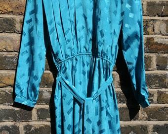 Vintage dress turquoise blue pattern design retro design size 12