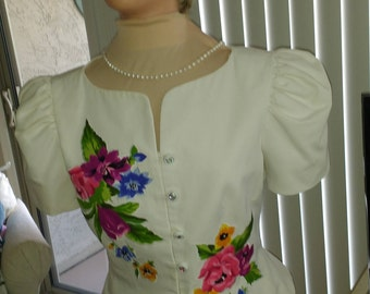 White Dressy top to pair with a skirt or pants, Size 12