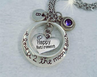 Happy Retirement I Love U 2 The Moon and Back w-Letter Charm & Swarovski Birthstone Crystal, Retirement Gift, Love You to the Moon, Retiree