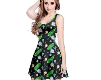 Rick and Morty Dress - Skater Dress Pickle Rick Dress Cosplay Dress Comicon Dress Plus Size Dress Sci-fi Dress Cartoon Dress Oddity Apparel