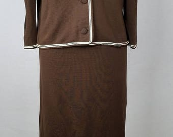 Vintage 1960s TUCKER KNITS brown 2pc dress and jacket