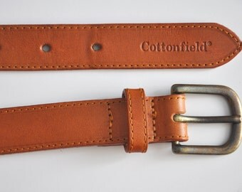 Vintage tan leather belt, saddle leather belt, Made in England, 85 cm