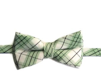Green Plaid Bow tie - Kids Bow Tie - Bow Tie for Boys - Pre-tied Bow Tie  - Boys Bow Tie - Green Tartan Bow Tie