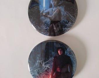Star Wars Rey and Kylo Ren Buttons/Keychains