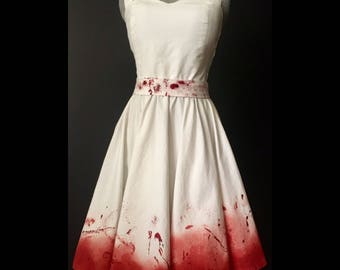 Bloody Pinup Halter Dress, White Blood Splatter dress, pin-up circle skirt, Zombie House Wife