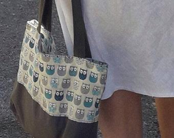 bag fabric canvas OWL bag with zipper bag cotton bag with zipper Tote racing blue grey OWL print tote bag
