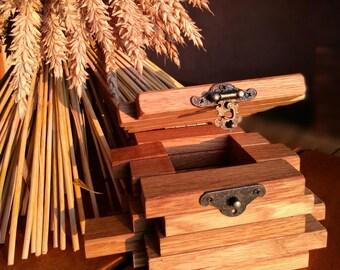 Wooden tea box/ Wood tea bin/ Wooden tea container/ Tea storage box/ Engraved and personalized tea box/ Oak table decor/ centerpiece box