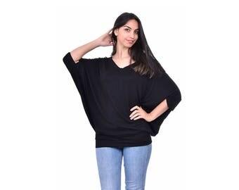 Oversized blouse, Hot black blouse, Black woman blouse, Black woman top, Bat sleeve woman top, Bat sleeve woman blouse, Fashion blouse