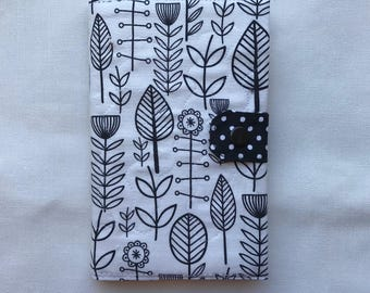B&W Leaves Notebook cover. Quilted with a lining. Moleskine