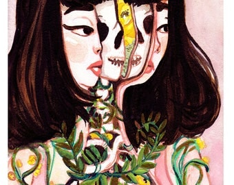 A Peak Inside. Watercolor Illustration Print. floral skeleton. dissection. blooming. yellow flowers. anatomy.
