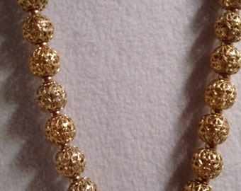 Gold Filigree Ball Necklace: