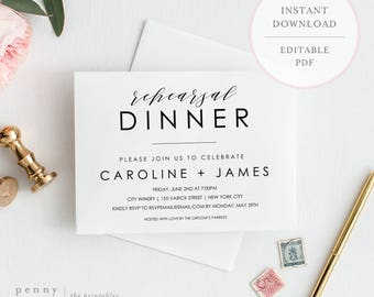 Rehearsal Dinner Invitation. Rehearsal Dinner Invitation Template. Rehearsal Dinner Invites. Rehearsal Dinner Instant Download. (SH)