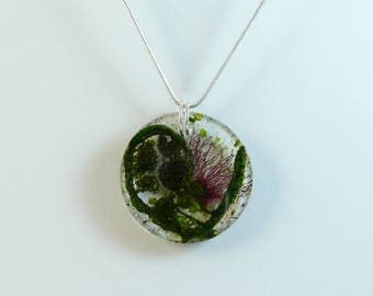 Dried flower resin necklace with fern and New Zealand pohutukawa, comes with silver plated snake chain