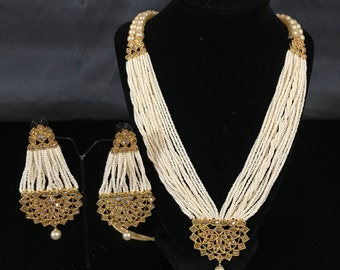 Indian Jewelry Set - South Indian Jewelry - Temple Jewelry - Moti Pearl Jewelry - Pakistani Jewelry Set - Indian Sangeet Wedding Jewelry -