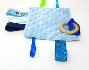 Blue tag blanket, teether blanket, baby comforter with tags,  crinkle blanket, sensory toy, baby teether, ribbon blanket, Montessori toy