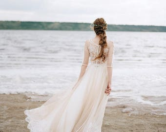 nude wedding dress, bohemian wedding dress, boho wedding dress, bridal dress, tulle wedding dress, nude wedding dress, ivory wedding dress