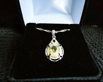 Citrine Gemstone Solid Sterling Silver Necklace