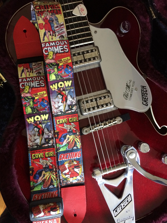 Book Cover Vintage Guitar : Comic book guitar strap handmade vintage covers