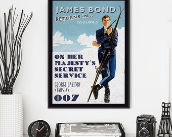 James Bond movie poster print in a classic vintage style. Wall art available at A3, A4 or A5