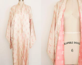 Vintage 1960s Brocade Kimono - Peach & Pink - Floral Pattern - Wedding Dressing Gown - Lingerie
