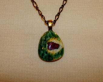 Ruby In Zoisite Cabochon Necklace