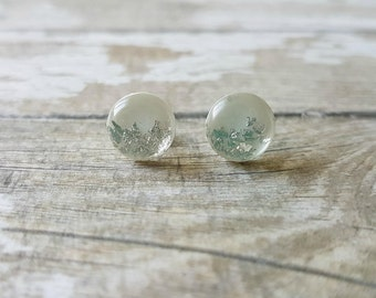 Silver leaf earrings, White stud earrings silver, White and silver earrings, Romantic jewelry for wedding, Birthday gift for best friend