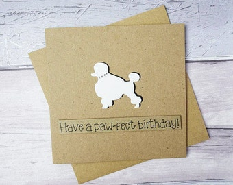 Poodle birthday card, White Poodle card, Bejewelled dog collar card, Personalised birthday card, Anniversary card, Standard Poodle card