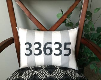 Personalized Zip Code Pillow, Decorative Pillow, Rustic Home Decor, Accent Pillow, Personalized Gift, Monogrammed Gift