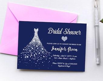 Elegant Navy Bridal Shower Invitation Printable, Modern Bridal Shower Invitation, Unique Bridal Shower Invitation, Wedding Dress, Navy White