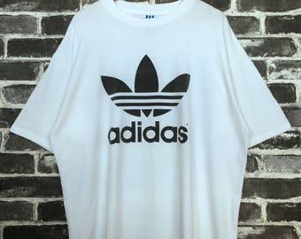 Vintage Adidas Tee White 80s Trefoil Big Logo 2 sided/Round Neck single stitch basic tee/street wear/training training/jogging Over Size USA