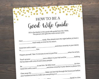 How to be a good wife guide, Bridal Shower Games Printable, Good Wife Guide, 1950s Good Wife Game, Gold Bridal Shower, Gold Confetti, GCB3