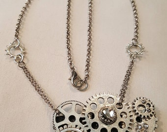 Silver and leather Steampunk necklace