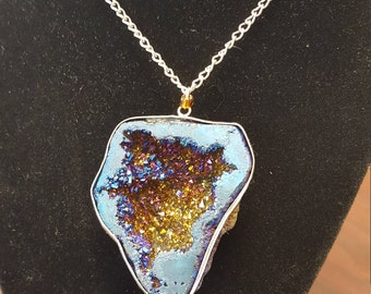 Gorgeous blue and gold Geode necklace