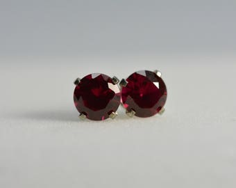Ruby Earrings stud | sterling silver, 6MM round, red earrings, Ruby earrings silver, July birthstone, Ruby Jewelry
