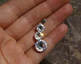 Swarovski Rivoli Pednant Clear Crystal Pendant Swarovski Wedding Crystal Necklace Swarovski Rivoli Necklace Round necklace  Sterling Silver