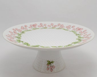Pedestal Plate Stand,Wedding,Vintage Japan,Dessert Table,Toscany,Jubilee,Pink Cherry,Cake Plate,Easter Cake Stand,Baby Shower Cake Stand