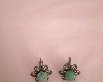 Vintage Sterling Silver Mesh Earrings - Green Beads - Screw-back - 1940s