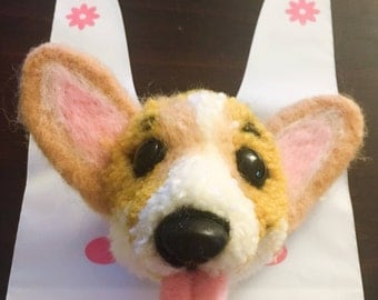 Fluffy Corgi head keychain (cell phone chaining)