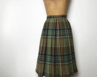 Vintage 60s Cacharel Paris 100% Virgin Wool Olive Green and Brown Plaid High Waisted Pleated Skirt, Size Small, Made in Paris, France