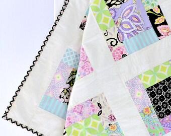 Girl Baby Quilt, Pink Purple Crib Bedding, Patchwork Quilt, Baby Blanket, Baby Shower Gift, Baby Gift, Baby Girl, Flower, Patchwork, Blanket