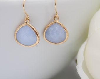Earrings yellow gold ice blue light blue