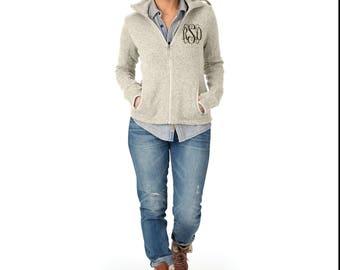 Monogrammed Womens Fleece Jacket, Personalized Full Zip Fleece Heathered Jacket by Charles River Apparel, Oatmeal, Blue, Black