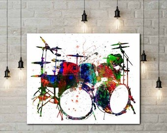 Drum Canvas, Drummer Prints, Percussions, Music Room Decor, Musician Art,  Boyfriend