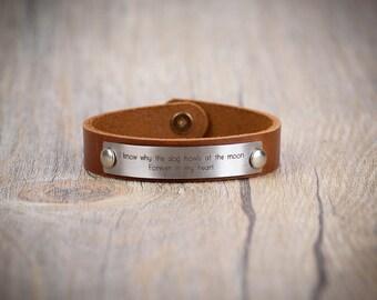 Custom engraved leather bracelet, Personalized leather bracelet, His and Hers Bracelet, Personalized Message Bracelet, Leather bracelet
