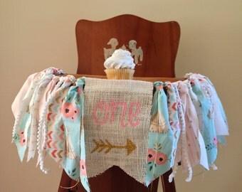 Girls First Birthday Highchair Banner/Boho Wild One Tribal Theme/Flower TeePee Arrow/Photo Shoot Prop/Party Decor/Cake Smash/Customize Flag
